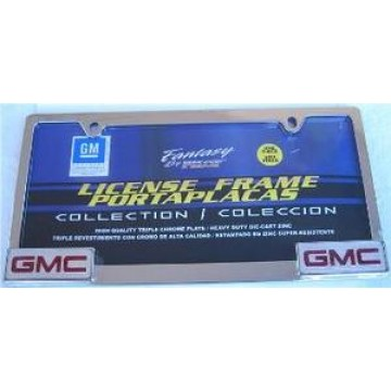 Chrome License Frame with GMC logo in Corners
