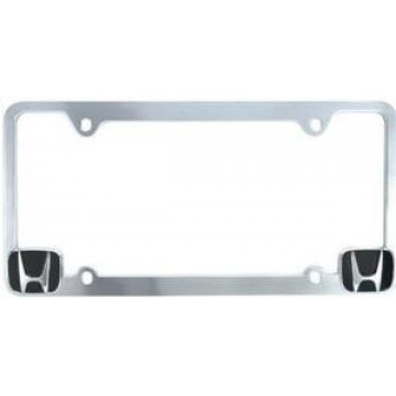 Chrome License Frame with Honda Logo in Corners