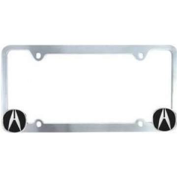 Chrome License Frame with Acura Logo in Corners