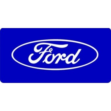 Ford Logo On Blue Photo License Plate