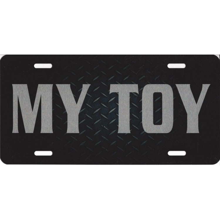 My Toy Black Diamond Plate With Brushed Aluminum Photo License Plate