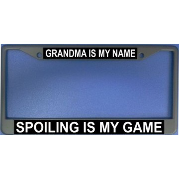 Grandma Is My Name Chrome License Plate Frame
