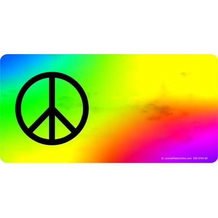 Peace Offset On Tie Dye Photo License Plate