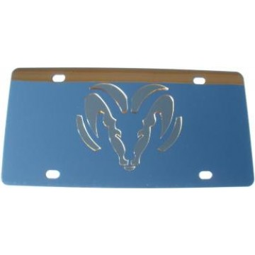 Dodge Ram Gold Logo Stainless Steel License Plate
