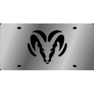 Dodge Ram Black Logo Stainless Steel License Plate