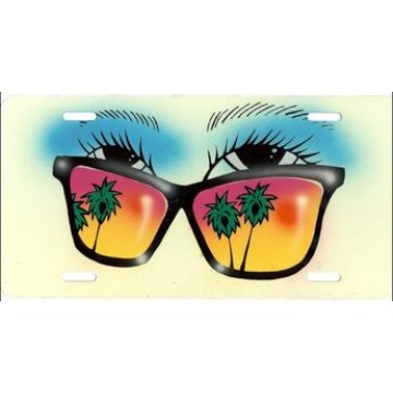 Blue Eyes Beach Sunglasses Airbrush License Plate