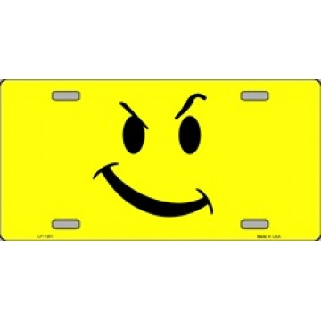 Attitude Smiley On Yellow License Plate