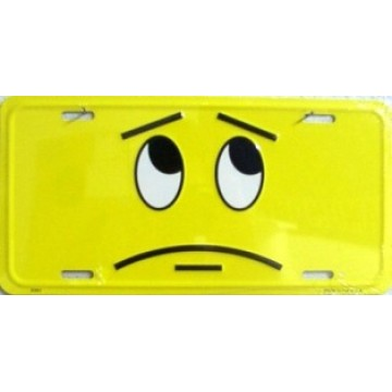 Lost & Confused Smiley Face Metal License Plate