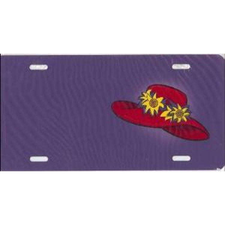 Red Hat On Purple License Plate