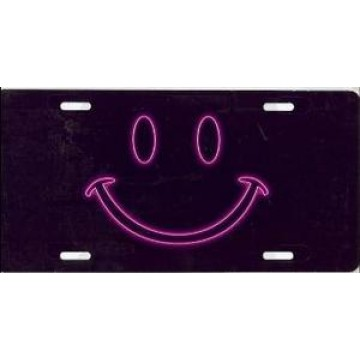 Pink Neon Smiley On Black Airbrush License Plate