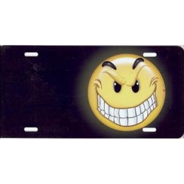 Grimace Face Offset On Black Airbrush License Plate