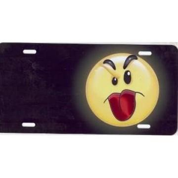 Raspberry Face Offset On Black Airbrush License Plate