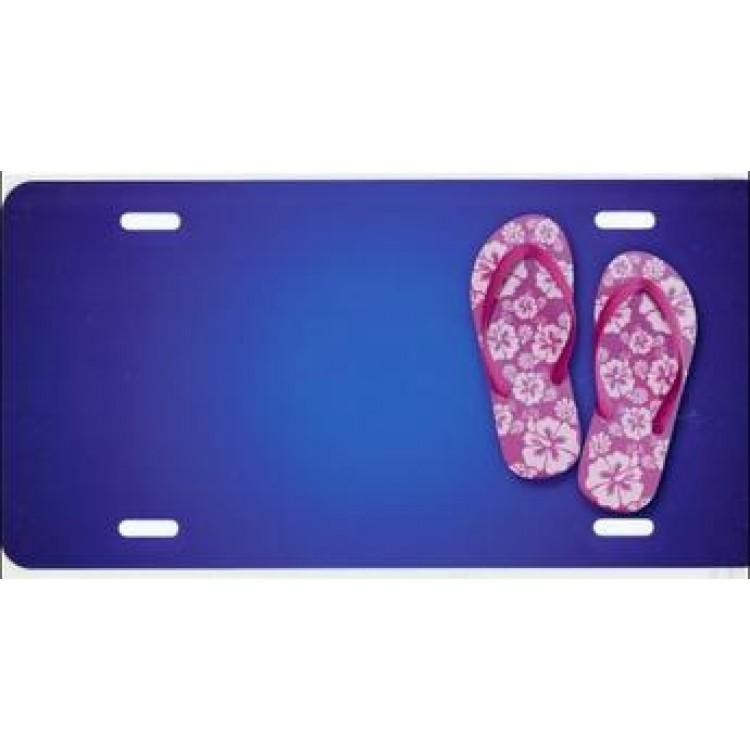 Flip Flops On Blue Offset Airbrush License Plate