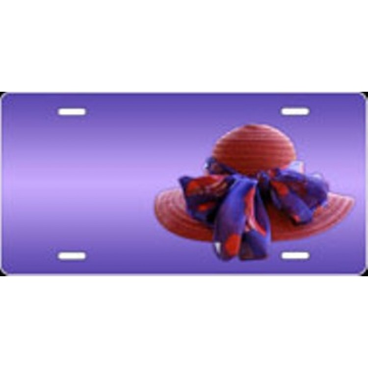 Red Hat On Purple Airbrush License Plate