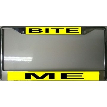 Bite Me Chrome License Plate Frame