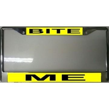 Bite Me Chrome License Plate Frame