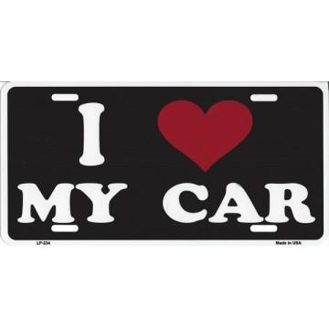 I Love My Car Metal License Plate