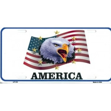 America With Eagle Metal License Plate