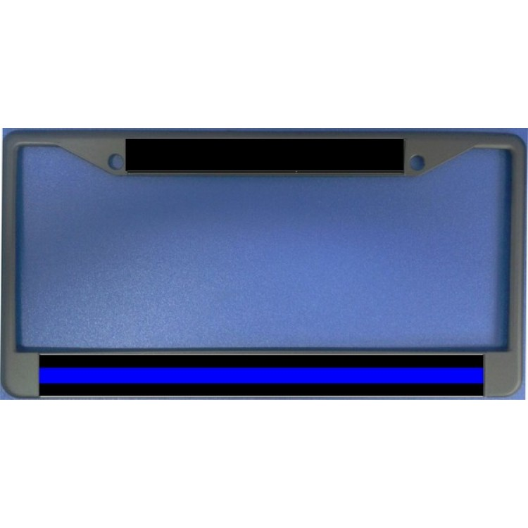 Police Thin Blue Line Chrome License Plate Frame