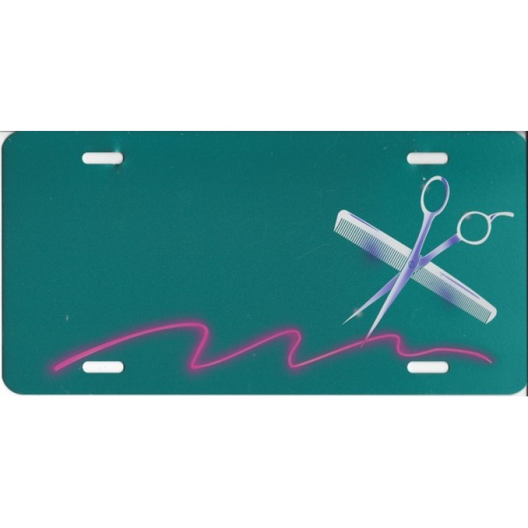 Scissors and Comb Offset Photo License Plate