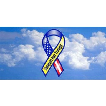 Support Our Troops Ribbon With Clouds Photo License Plate