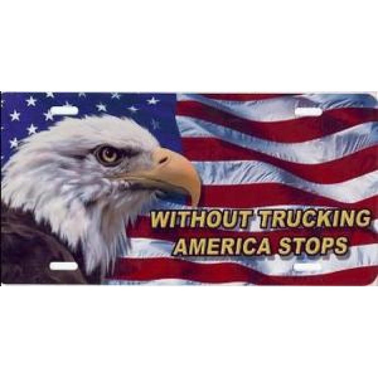 """""""Without Trucking"""" on American Flag License Plate"""