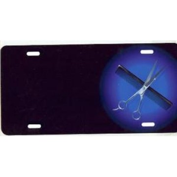 Comb And Scissors Offset Airbrush License Plate