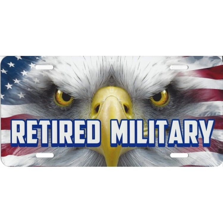 Retired Military With Eagle And Flag Airbrush License Plate