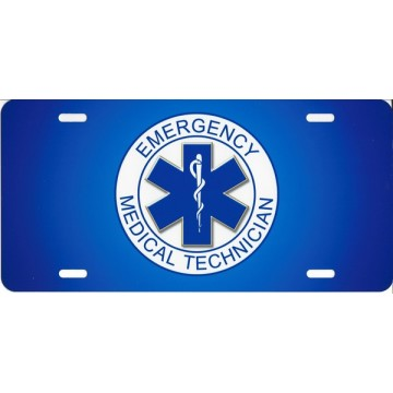 EMT Blue Airbrush License Plate
