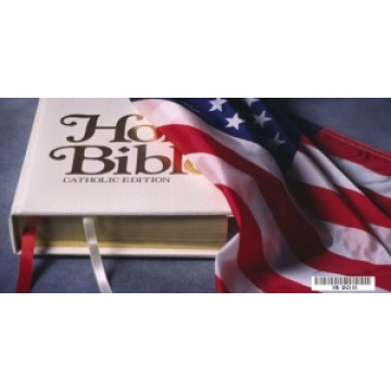 American Flag with Bible Photo Plate (Catholic Edition)