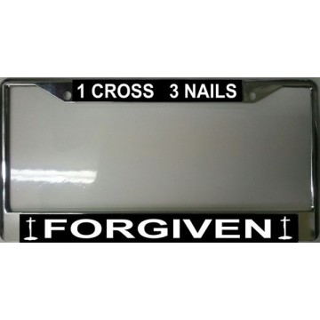 1 Cross 3 Nails Forgiven Chrome License Plate Frame