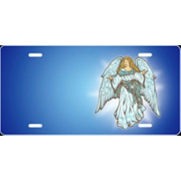 Angel Blue Airbrush License Plate