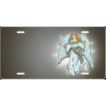 Angel Gray Airbrush License Plate