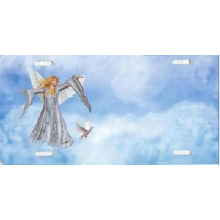 Angel Offset in Clouds License Plate