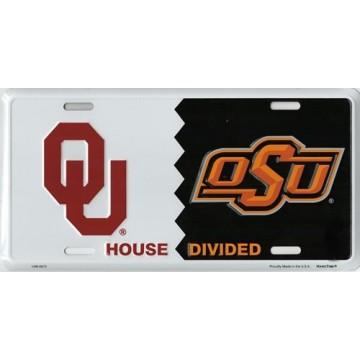 Oklahoma / OSU House Divided Metal License Plate