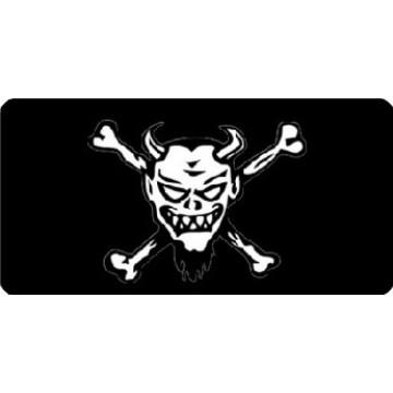 Centered Devil Skull On Black Photo License Plate