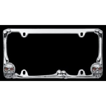 Chrome Bones and Skulls License Plate Frame with Lighted Eyes