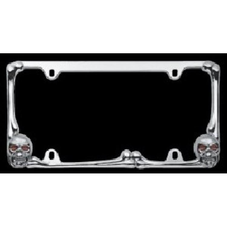 Chrome Bones and Skulls License Plate Frame with Lighted Eyes