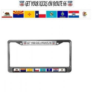 Get Your Kicks On Route 66 Chrome License Plate Frame
