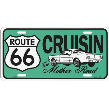 Cruising Route 66 On Teal Metal License Plate