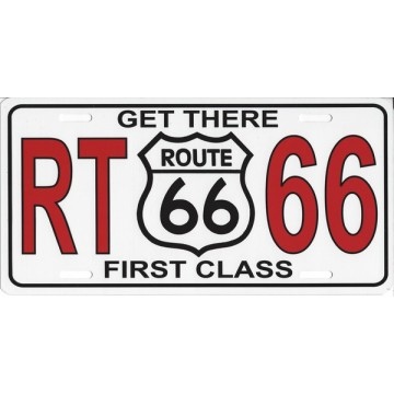 Get There First Class Route 66 Photo License Plate