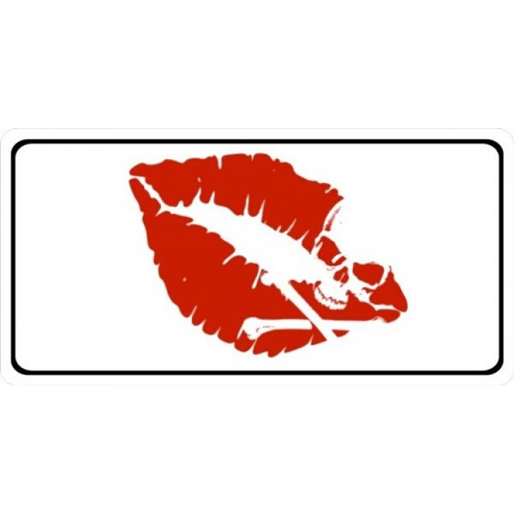 Red Lips With Skull Photo license Plate