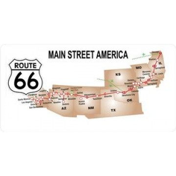 Main Street America Route 66 Photo License Plate
