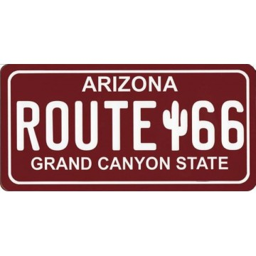 Route 66 Red Photo License Plate