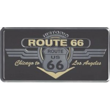 Historic Route 66 Shield & Wing Photo License Plate