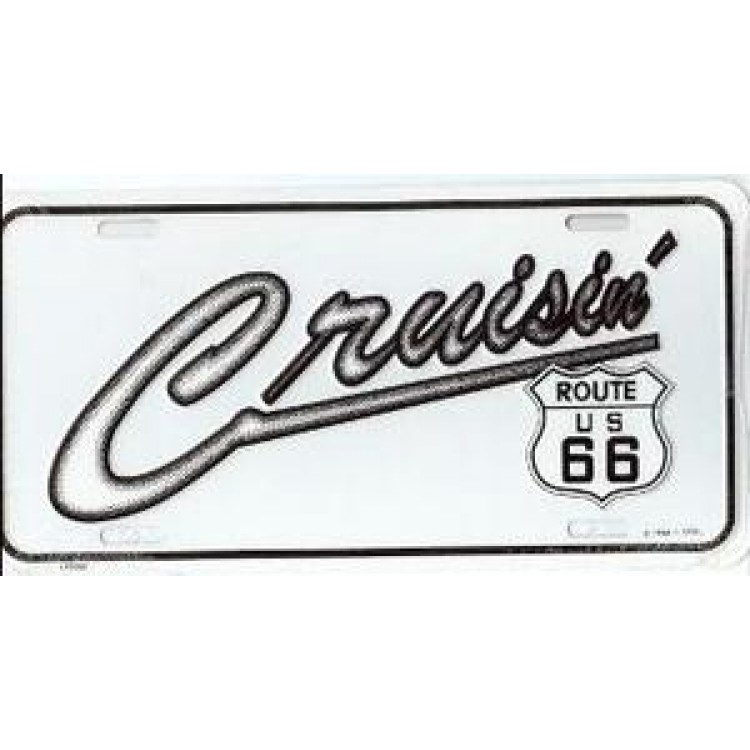 Cruising Route 66 On White Metal License Plate