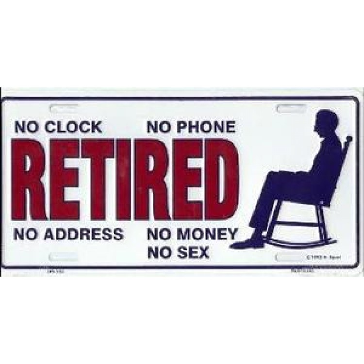 Retired No Clock No Phone Metal License Plate