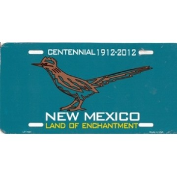 New Mexico Land Of Enchantment Centennial With Roadrunner Metal License Plate