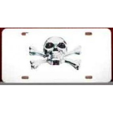 3-D Skull and Crossbones License Plate