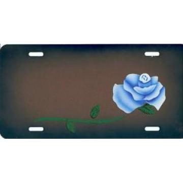 Blue Rose On Blue/Gray License Plate